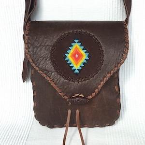 Tasche Glattleder schwarzbraun